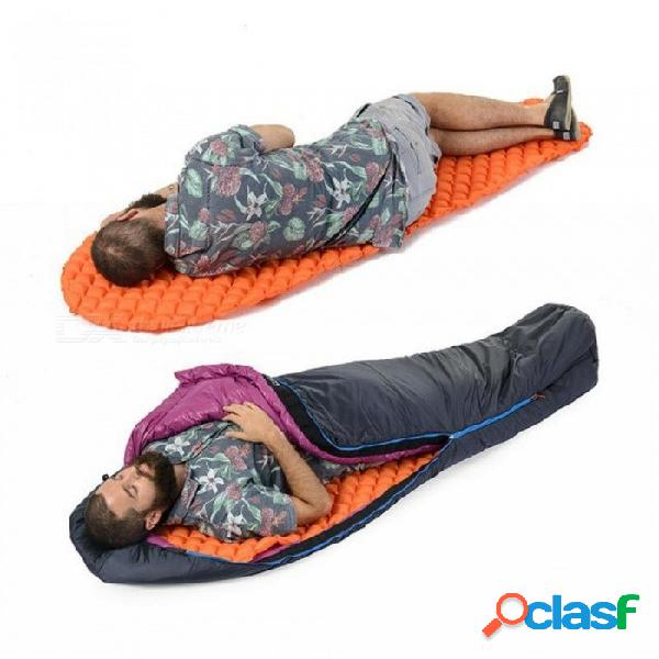 Cojín de dormir de inflado colchoneta de camping de senderismo al aire libre colchón de aire de campamento ligero con cojín inflador externo bomba f