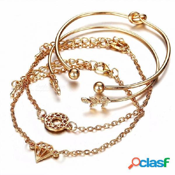 Estilo europeo y americano de 4 piezas de personalidad de la moda hoja abierta brazalete traje de oro