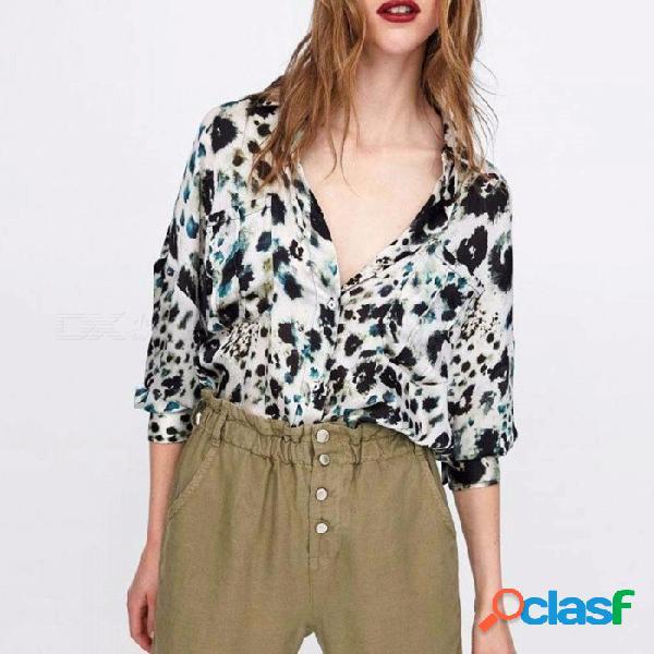 Patrón de leopardo animal primavera otoño impresión de manga larga blusa de las mujeres camisa tops leopardo / s