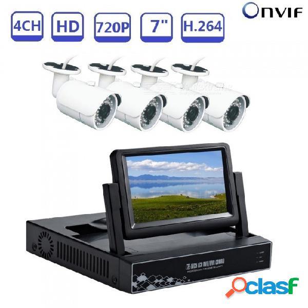 Strongshine 4ch 7 pulgadas 1080n compatible con cctv dvr ahd tvi cvi cvbs juego de grabadora de video en tiempo real con cámaras 720p ahd - enchufe de ee. uu.