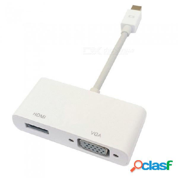 Adaptador vga mini a puerto mini displayport 2 en 1, convertidor de macho a hembra para cables de video de computadora portátil macbook pc