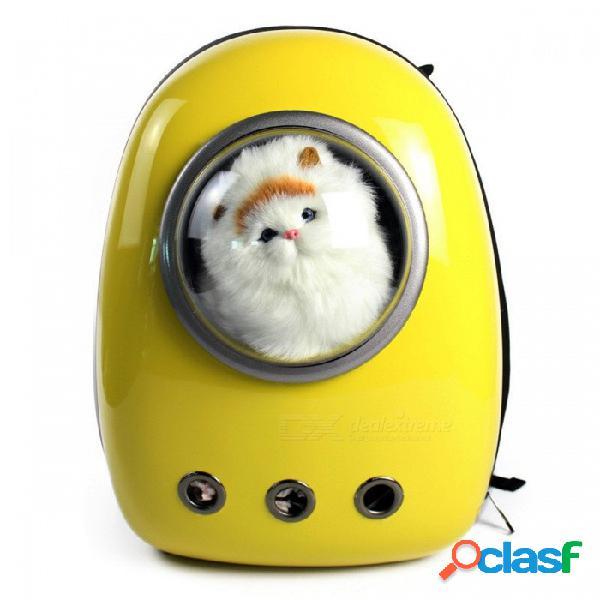 Animal doméstico que lleva la mochila respirable del bolso del estilo del espacio del astronauta para el perro, gato - amarillo