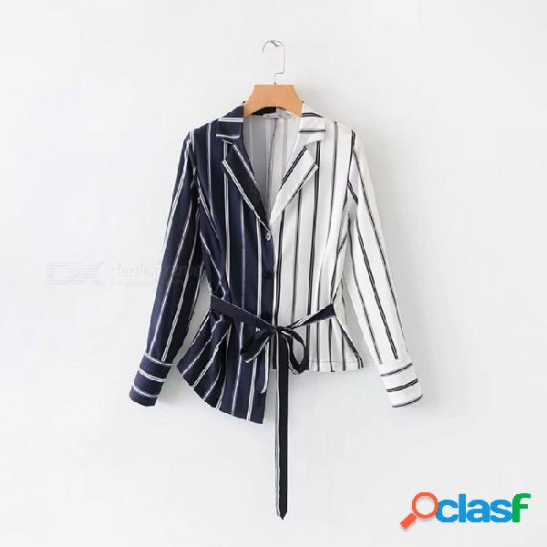 Camisas de mujer blusas irregulares de rayas manga larga, empalmadas, con cordones, camisa, top asimétrico, ropa casual multi / s
