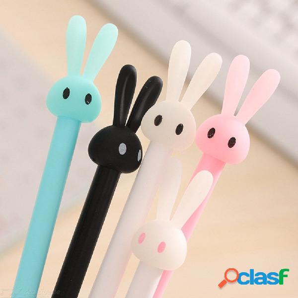 Conejo encantador lindo conejito 0.38mm plástico jalea gel pluma oficina escuela regalo papelería pluma