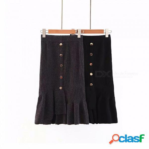 Las nuevas faldas de las mujeres de moda color sólido botón asimétrico volantes vestido de punto negro / talla única