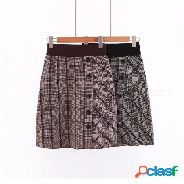 Nueva falda de otoño botón de tela escocesa de moda casual de punto una línea vestido hasta la rodilla para las mujeres negro / un tamaño