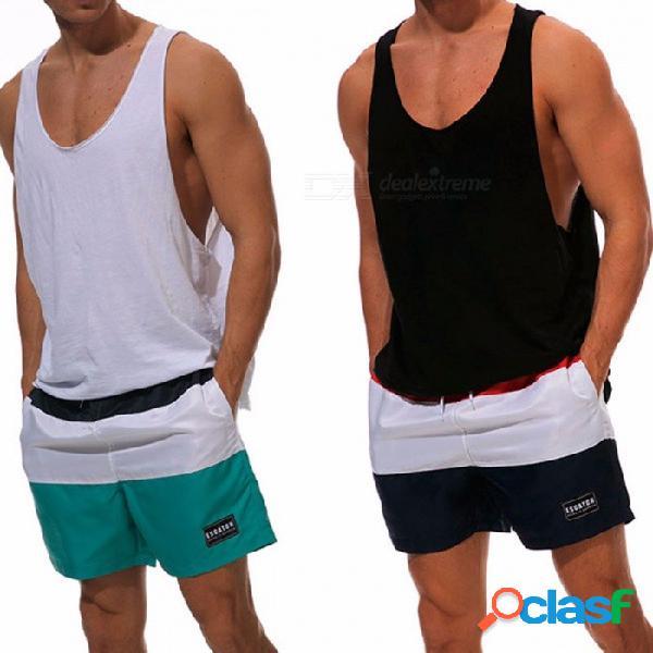 Nuevos pantalones cortos de playa verano transpirable swim troncos pantalones cortos de baño slim wear para hombres negro / m