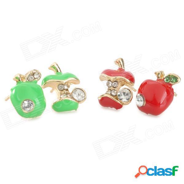 Pendientes con estilo de cristal con incrustaciones de cristal elegante de moda de mujer - verde + rojo (2 pares)