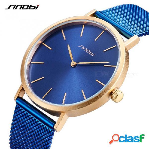 Sinobi 9780 simple clásico para hombre relojes de primeras marcas de oro de lujo manos retro milano reloj azul negro delgado reloj de cuarzo wirst nuevo azul