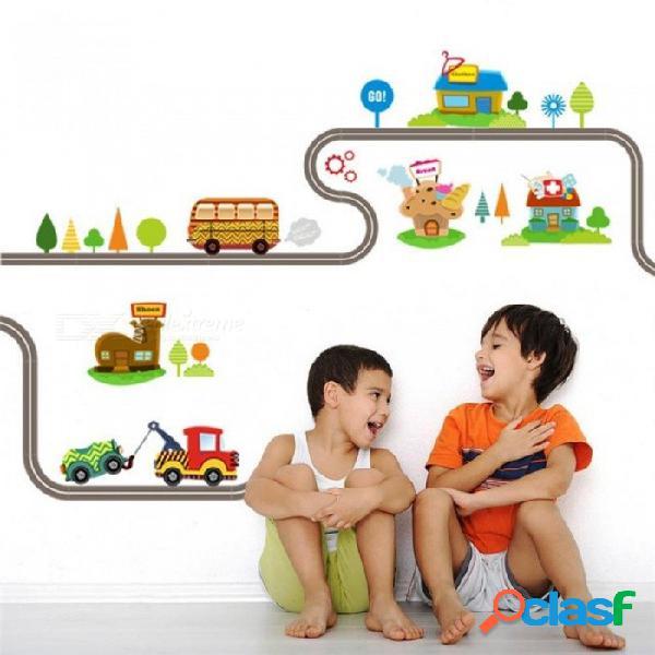 Carros de dibujos animados pista de la carretera pegatinas de pared para habitaciones de los niños pegatinas pegatina de los niños sala de estar decoración arte de la pared calcomanías b