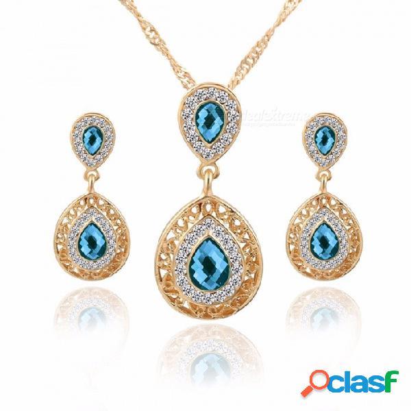 Nuevo collar de aretes conjunto combinación cristal pendientes gota colgante joyas tres piezas verde