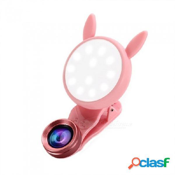 Nuevo teléfono móvil universal con luz de relleno lente gran angular macro con lente de cámara para iphone lg htc blackberry