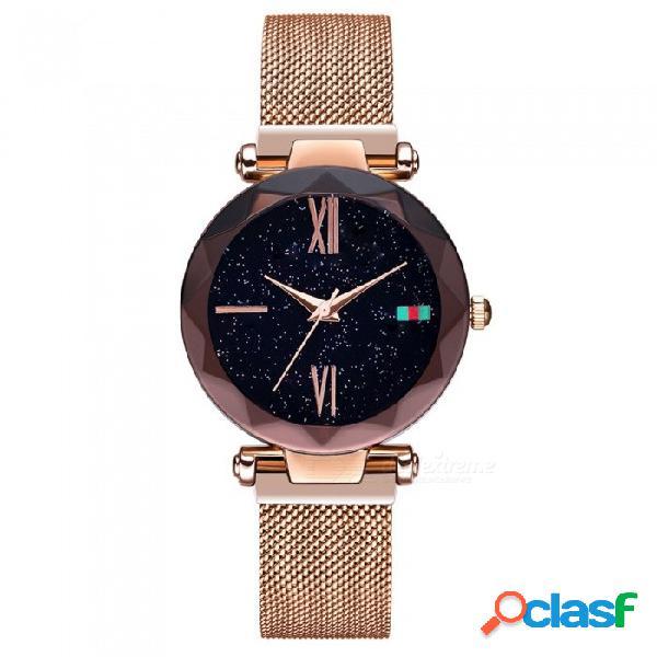 Reloj digital de cuarzo digital para mujer de hannah martin d5 con correa de malla de acero inoxidable - oro rosa