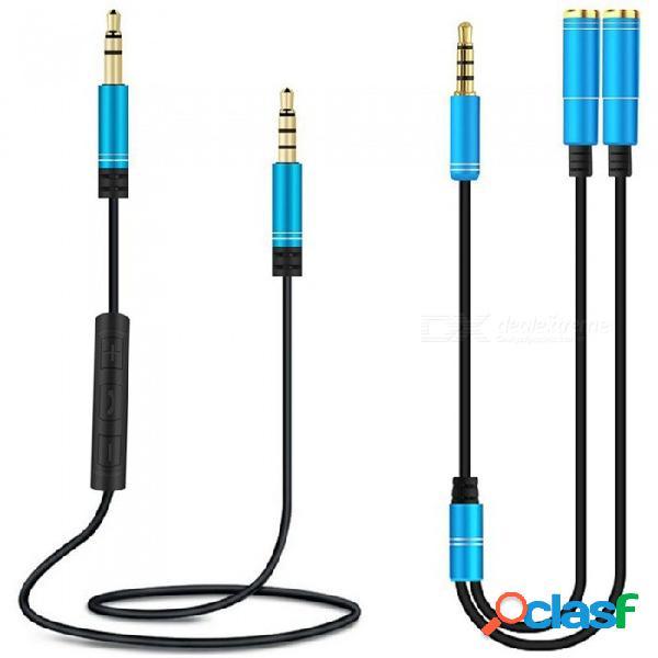 Cable aux miimall de 3,5 mm con adaptador divisor y de audio, cable auxiliar macho a macho de 3,93 m con micrófono y control de volumen para el teléfono