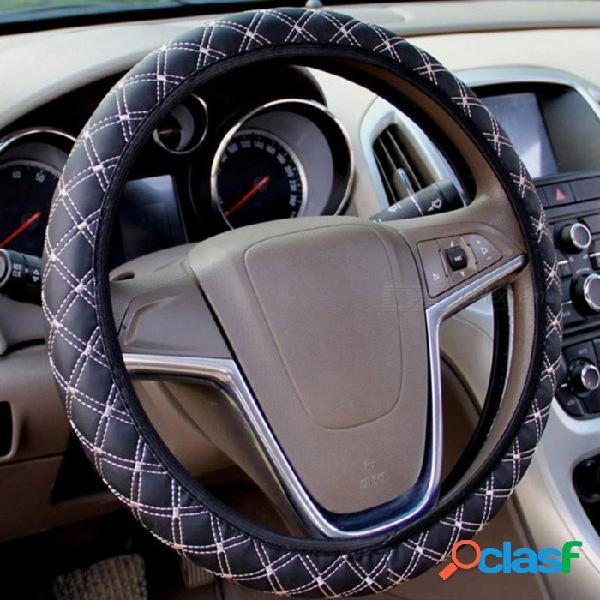 Cubierta auto del volante de cuero de la pu del coche automático cubierta protectora adecuada para el volante de la mayoría de los coches negro rojo