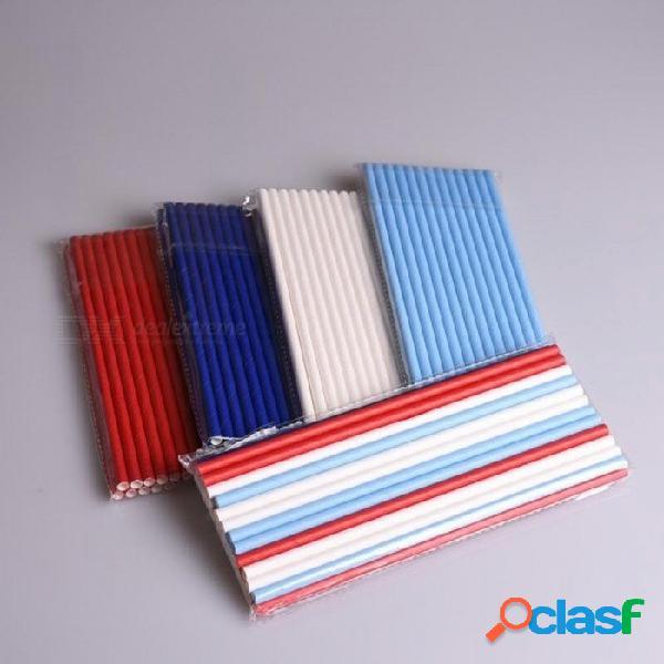 100 unids / lote colores sólidos mezclados azul rojo pajitas de papel blanco para la boda de cumpleaños fiesta decorativa creativa pajas de beber color de la mezcla