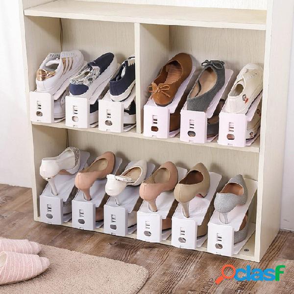Artículos de uso doméstico para engrosar soporte recibir bastidor de zapatos simple de doble capa de almacenamiento de los zapatos de bastidor 4 pcs / set blanco