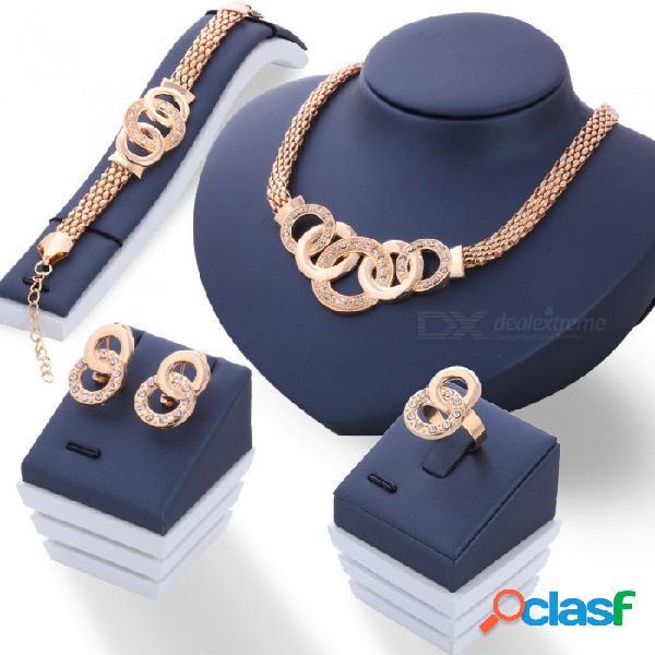 Collar de cuatro piezas collar redondo pendientes anillo pulsera fashinable conjunto de joyas redondas plata