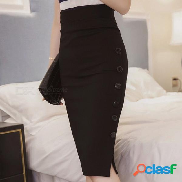 Faldas delgadas formales rectas del nuevo botón del color sólido de la falda atractiva de gran tamaño para el negro / s de las mujeres