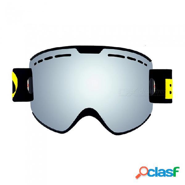 Gafas de esquí para padres y niños 2 pack set snowboard gafas de esquí contra la niebla uv400 para hombres de la familia mujeres niños gafas de nieve - plata