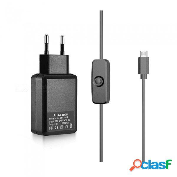 Suministro de adaptador de cargador de alimentación de 5 v 3 a + cable de carga micro usb con interruptor para frambuesa pi 3b + / 3b