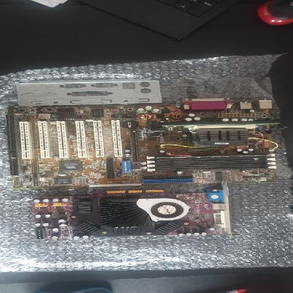 Placa asus p3v4x + memoria + procesador + grafica