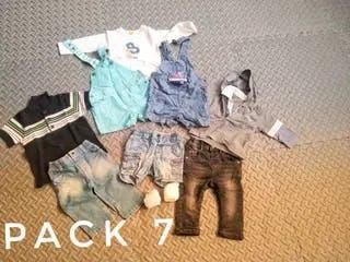 Ropa bebe / niño /niña pack 7 1 camiseta negra
