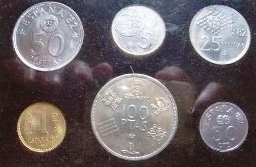 Lote monedas (pesetas) mundial fútbol '82