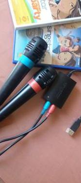 Micrófonos sing star con 2 juegos (ps2)