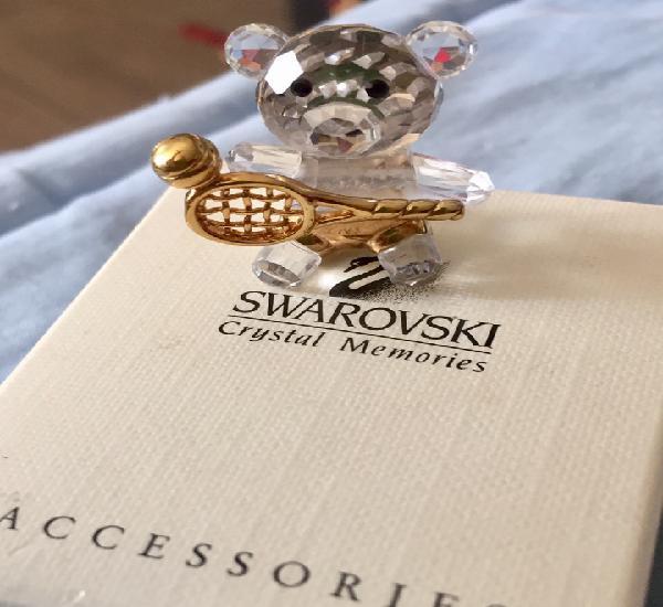 Miniatura de swarovski de oso con raqueta con oro
