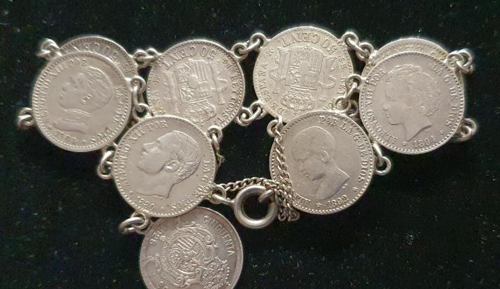 Pulsera de monedas en plata de 50 ctmos.