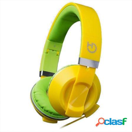 Auriculares diadema hiditec cool kids yellow - altavoces 40mm - 92db -