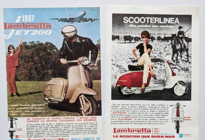 2 anuncios de moto lambretta.años 1965 y 1967.. vell i bell