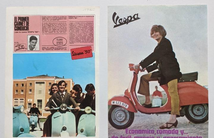 2 anuncios de moto vespa.años 1966 y 1967.. vell i bell