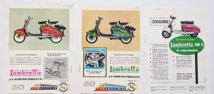 3 anuncios de moto lambretta.años 1958 y 1960.. vell i bell