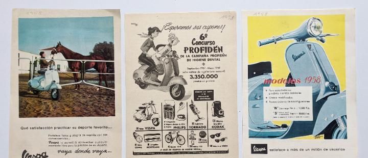 3 anuncios de moto vespa.año 1958.. vell i bell
