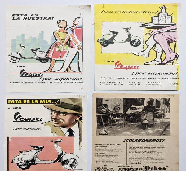 4 anuncios de moto vespa.año 1959.. vell i bell
