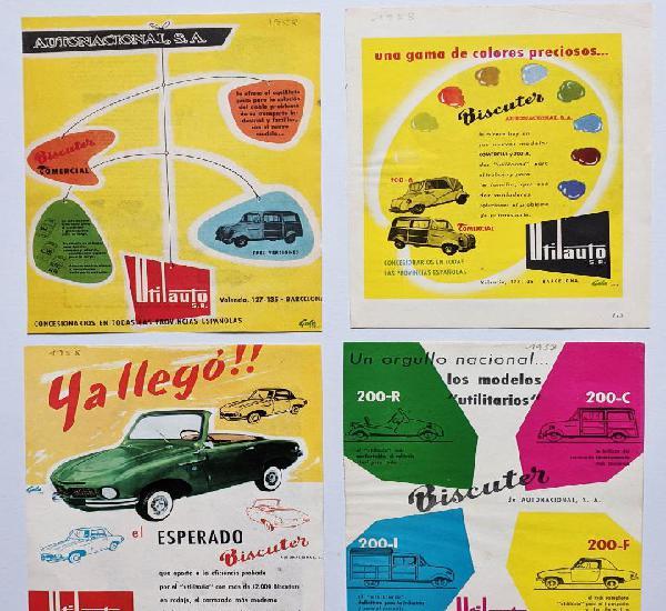 4 anuncios de coche y furgoneta biscuter, del año 1958.