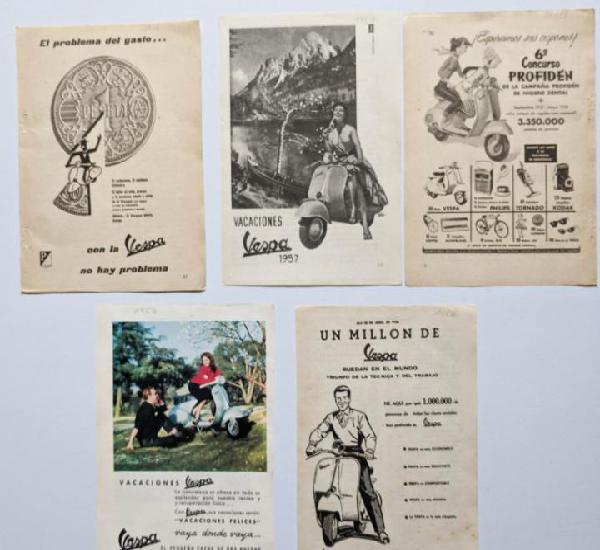 5 anuncios de moto vespa.año 1953, 1956 y 1957.. vell i
