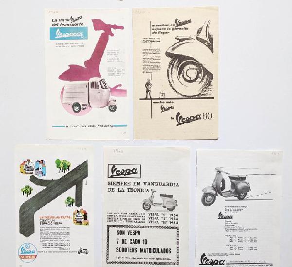 5 anuncios de moto vespa.años 1960, 1962 y 1963.. vell i