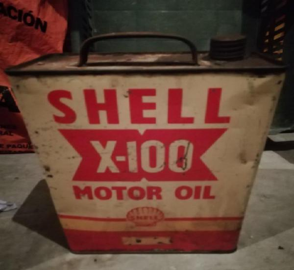 Antigua lata aceite motor shell x100 motor oil x 100 5
