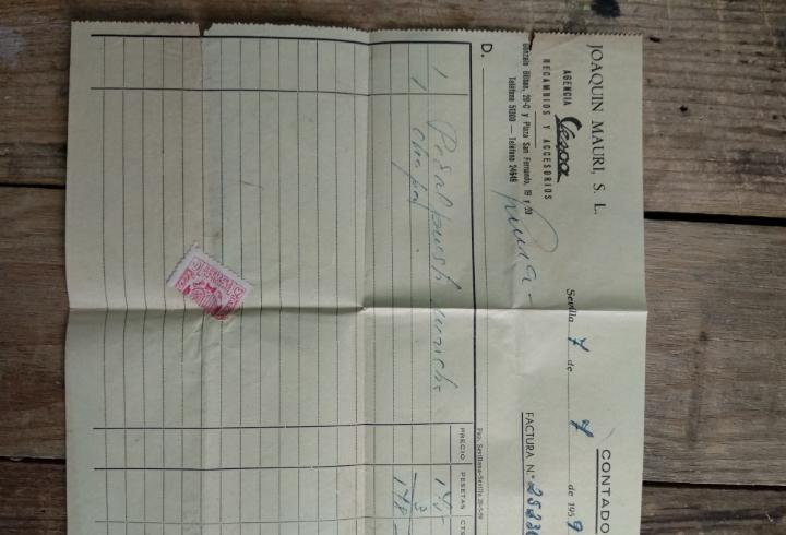 Factura agencia vespa joaquín mauri 1959