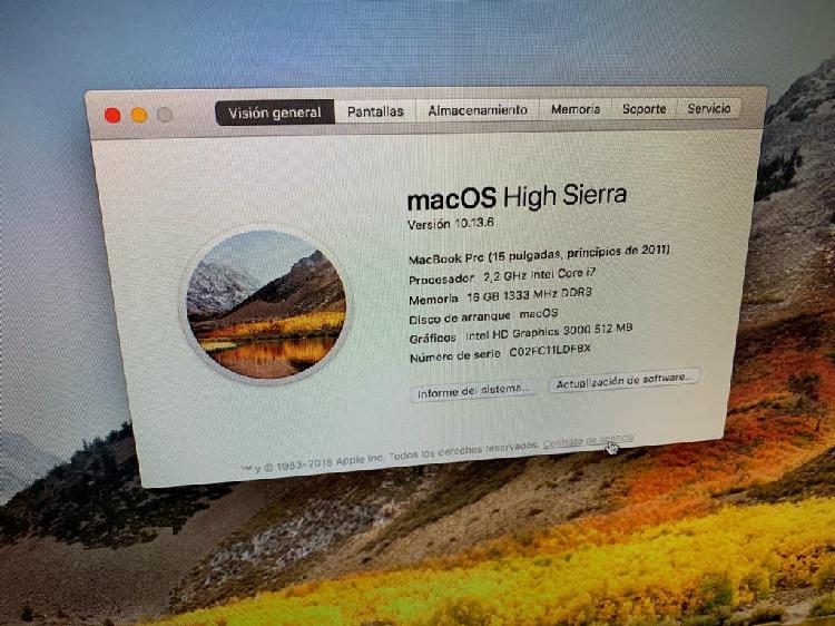 """Macbook pro principios 2011 15"""""""