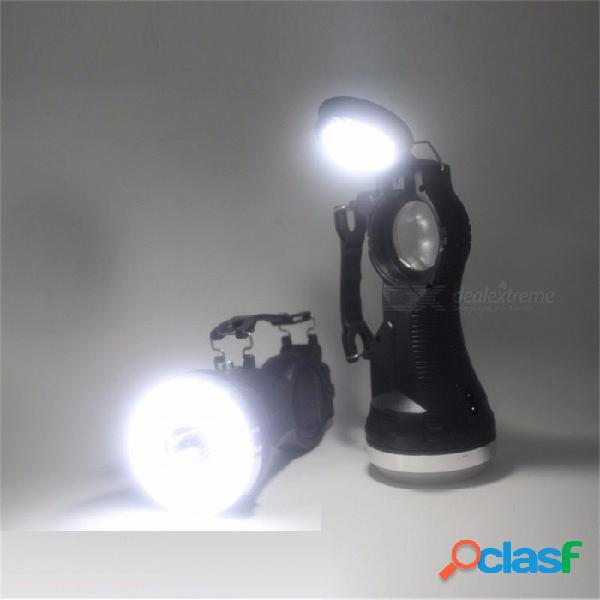 3W Linterna Solar LED Linterna Reflector Linterna Linterna Recargable Al Aire Libre Impermeable Cazador Lámpara Luz Portátil Blanco / Negro