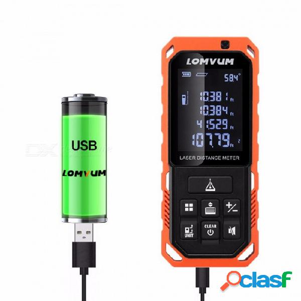 LOMVUM LD telémetro láser digital 100m portátil, medidor de distancia de láser auto nivel de batería recargable LD 100M