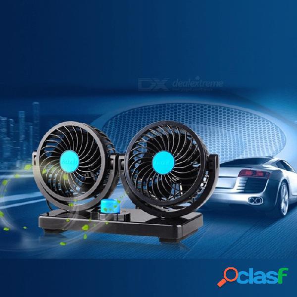 Mini Ventilador Eléctrico Del Coche 2 Cabezas 360 Grados De Rotación De Bajo Ruido Acondicionador De Verano Ventilador Del Automóvil Ajustable Refrigeración Por Aire Negro