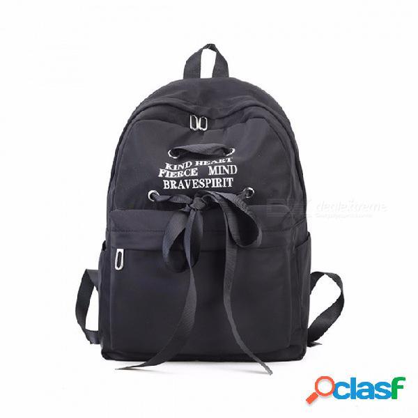 Mochila de lona de las mujeres, mochila del bolso de escuela del hombro de las señoras para las muchachas, bolsa de cinta linda de la manera del recorrido negro