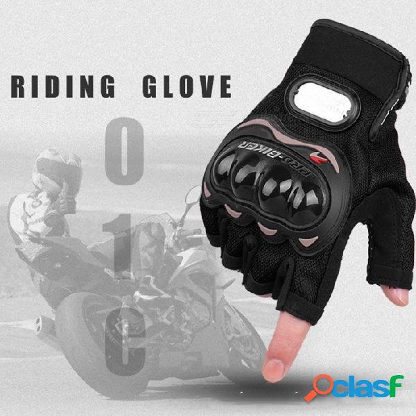 Pro-biker 1 par de motocross al aire libre para ciclismo nylon medio dedo guantes a prueba de golpes para hombres negro / m