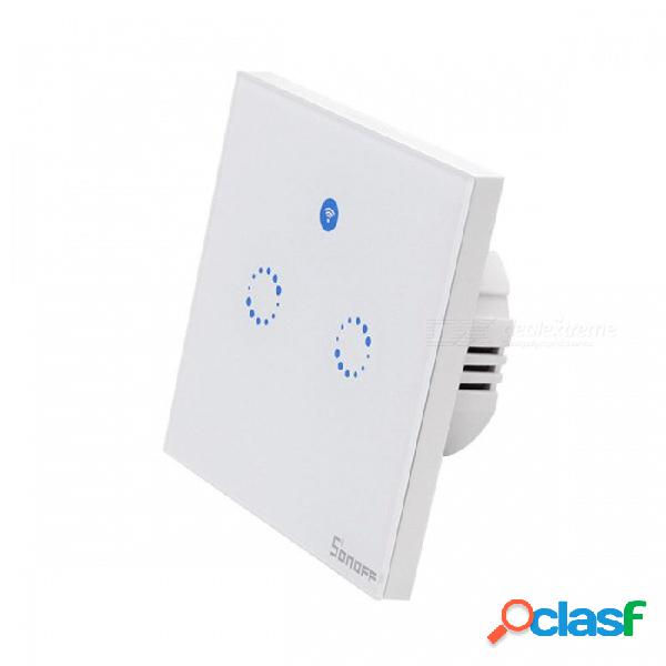 Sonoff T1 EU Smart Wi-fi Wall Touch Touch Interruptor De Luz Toque / Wifi / 433 RF / Aplicación Remota - 2 Pandillas