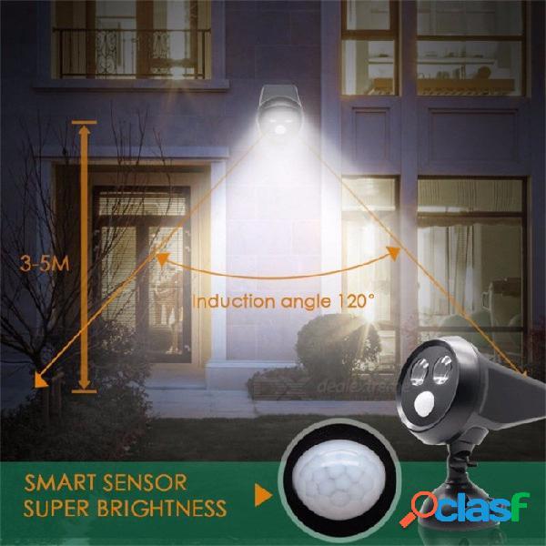 2 leds lámpara solar búho para exteriores foco ip65 impermeable sensor de movimiento infrarrojo luz led con panel solar recargable blanco / 0-5w / negro